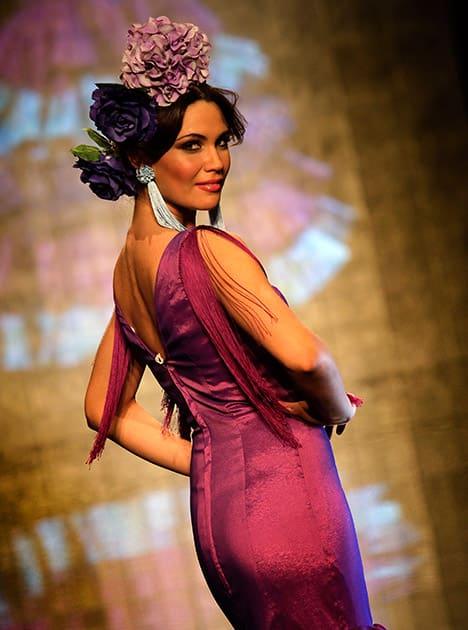 A model wears a creation by Mari Carmen Cruz during the International Flamenco Fashion Show in Seville, Spain.