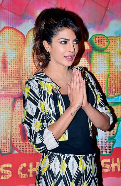 Priyanka Chopra during the promotion of film 'Gunday' on the sets of a TV show in Mumbai.