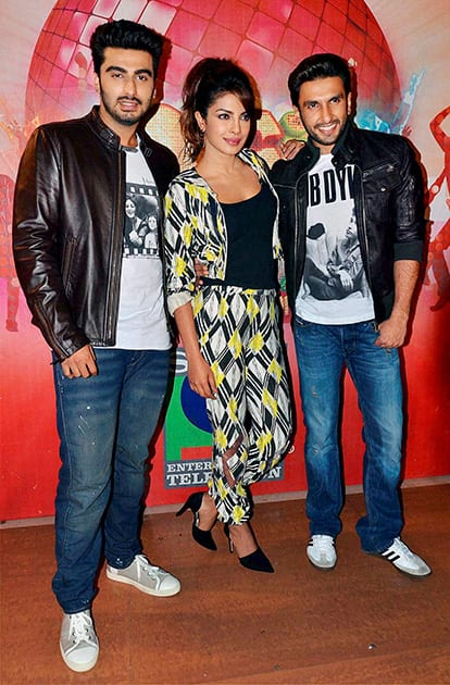 Ranveer Singh, Priyanka Chopra & Arjun Kapoor during the promotion of film 'Gunday' on the sets of a TV show in Mumbai.