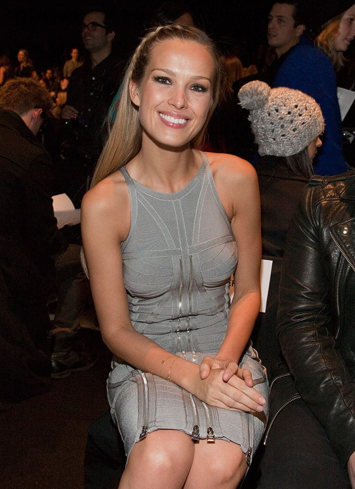 Fashion model Petra Nemcova attends the Herve Leger by Max Azria fashion show.