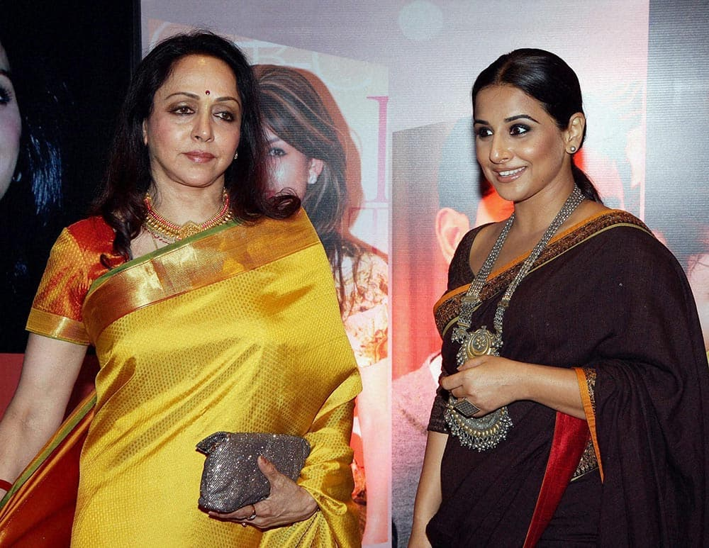 Actress Hema Malini & Vidya Balan at an award function in Mumbai.
