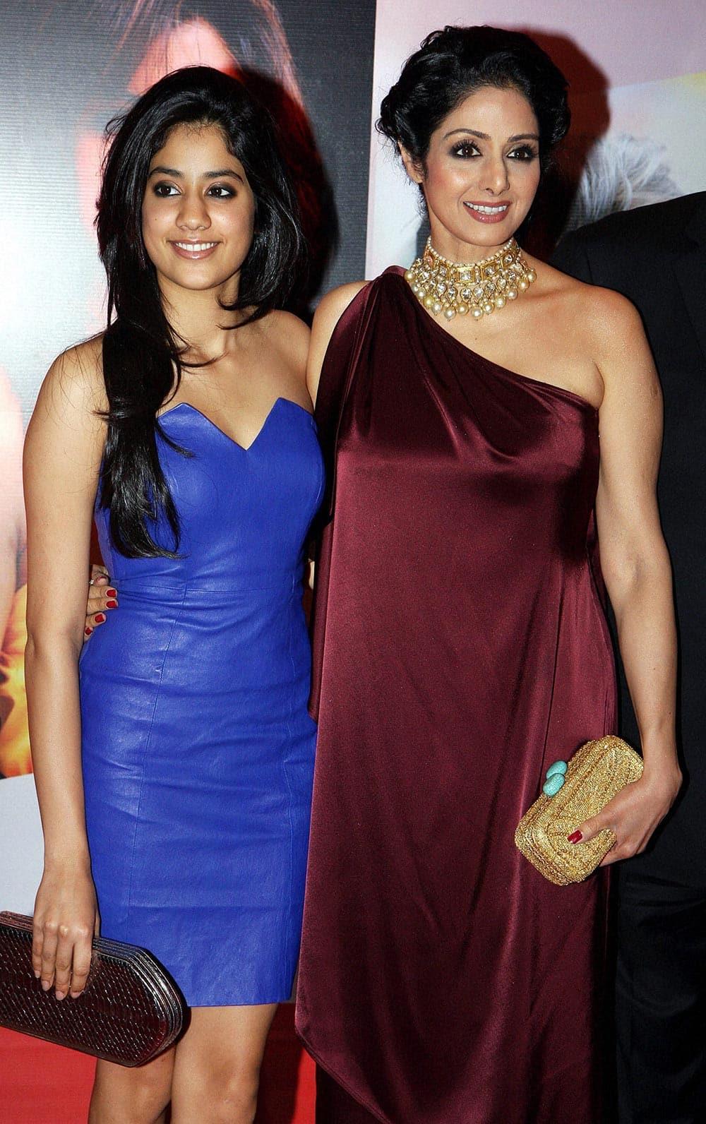 Actress Sridevi with her daughter at an award function in Mumbai.