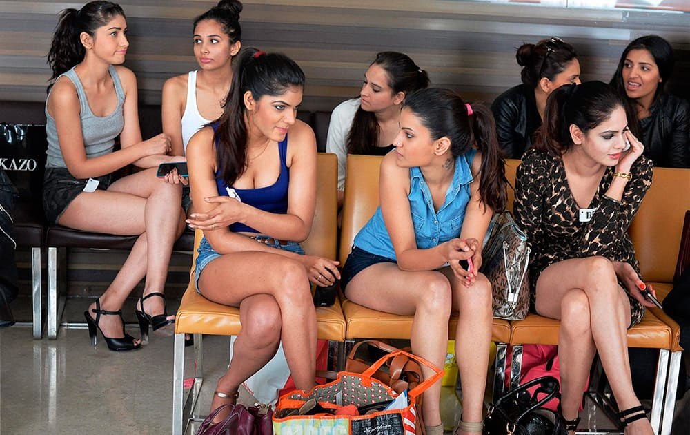 Models await their turn during the WIFW Model Fashion Auditions in New Delhi.