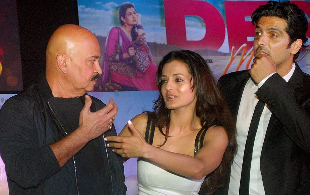 Rakesh Roshan, Ameesha Patel and Zayed Khan during the poster launch of film Desi Magic in Mumbai.