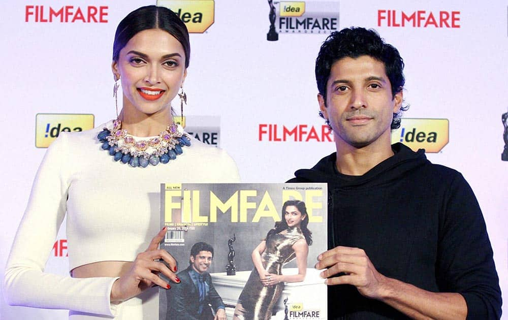 Bollywood actors Deepika Padukone and Farhan Akhtar during the launch of cover page in Mumbai.