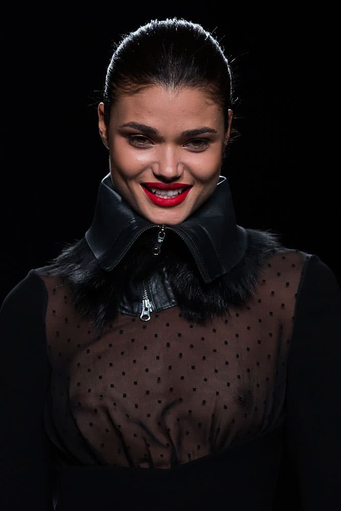 A model displays an Autumn/Winter design by Roberto Torretta during Madrid's Fashion Week.