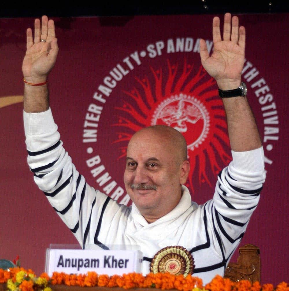 Anupam Kher waves during youth festival at Banaras Hindu Univercity at Varanasi.