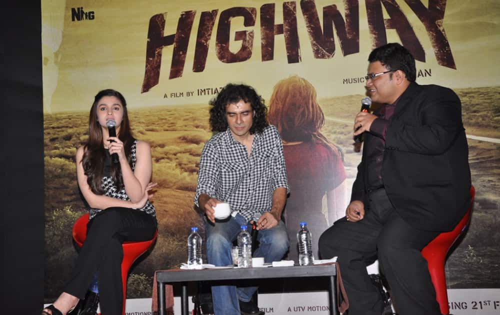 Alia with Imtiaz Ali for the launch of 'Highway'