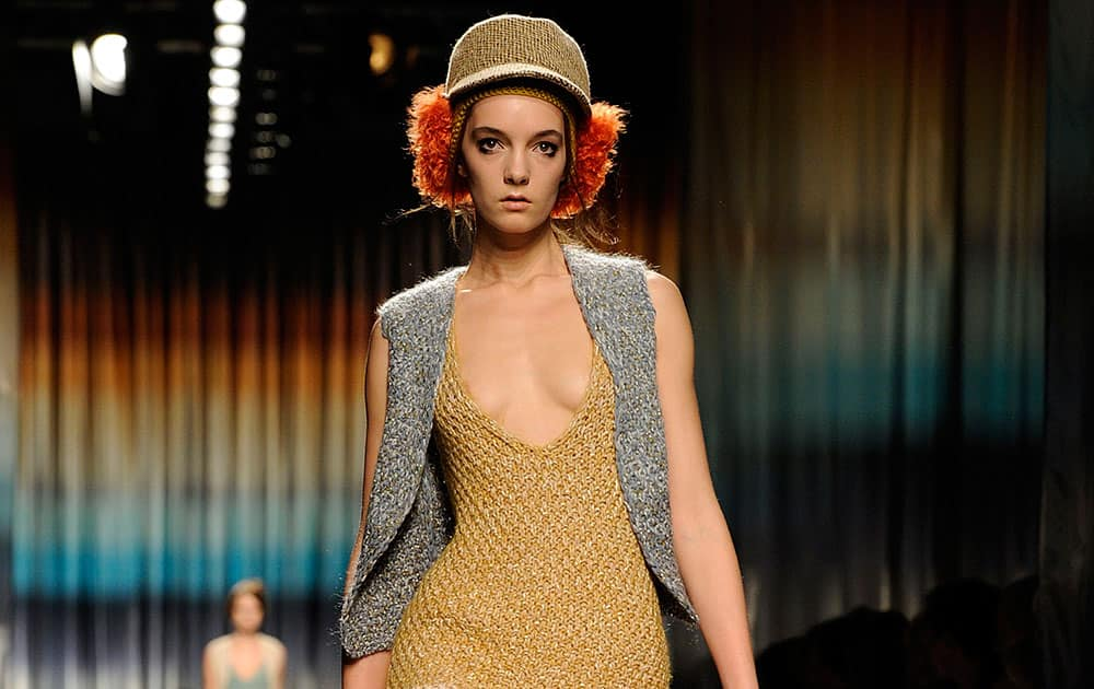 A model wears a creation for Missoni women's Fall-Winter 2014-15 collection, part of the Milan Fashion Week.