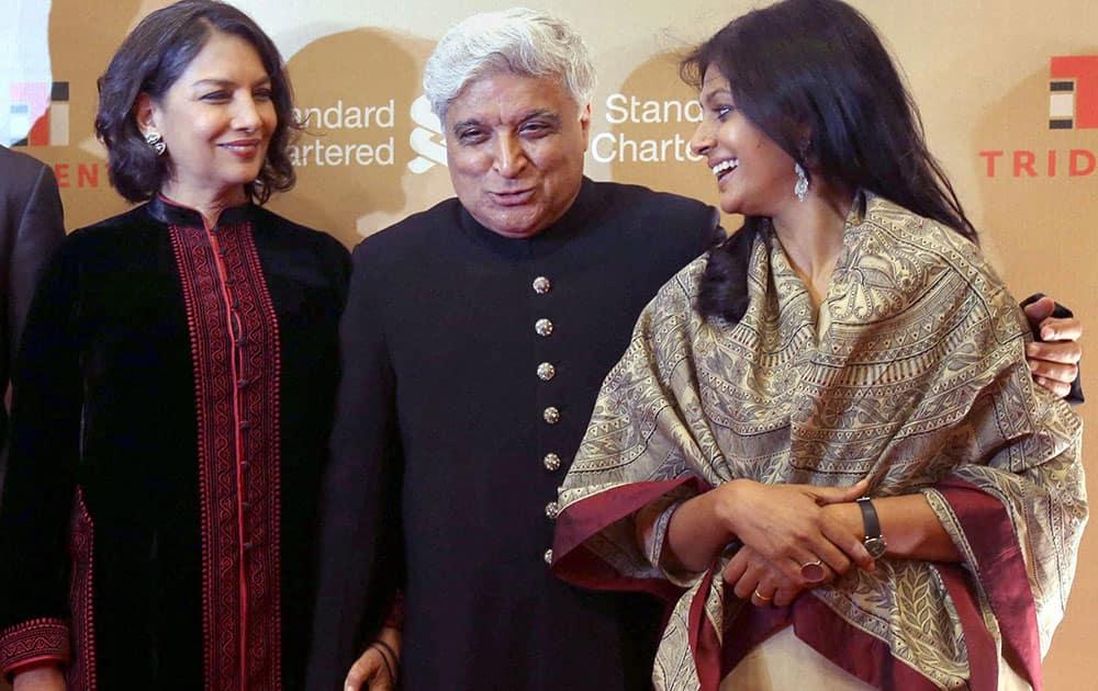 Bollywood actress Shabana Azmi along with Javed Akhtar and Nandita Das at an event in Mumbai.