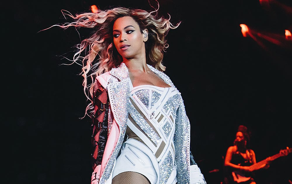 Beyonce performs onstage on her `Mrs. Carter Show World Tour 2014,` at the LG Arena in Birmingham, United Kingdom.