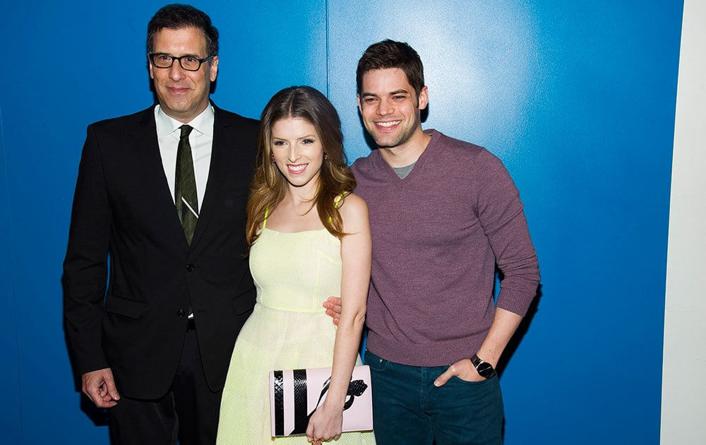 From left, Richard LaGravenese, Anna Kendrick and Jeremy Jordan attend a screening of `The Last Five Years` in New York.