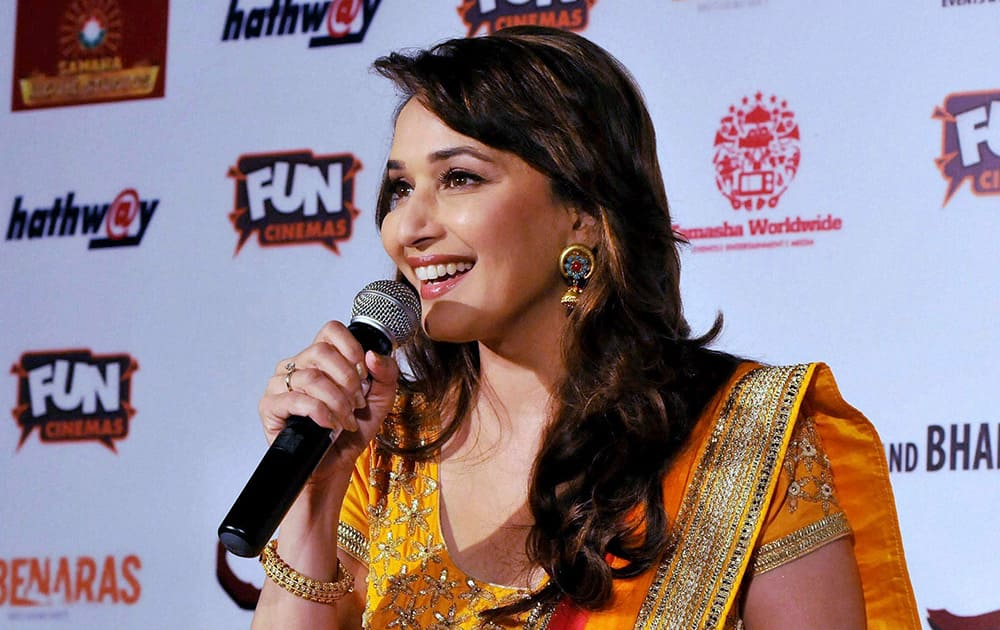 """Madhuri Dixit during the promotion of her upcoming movie """"Gulaab Gang"""" in Bhopal."""