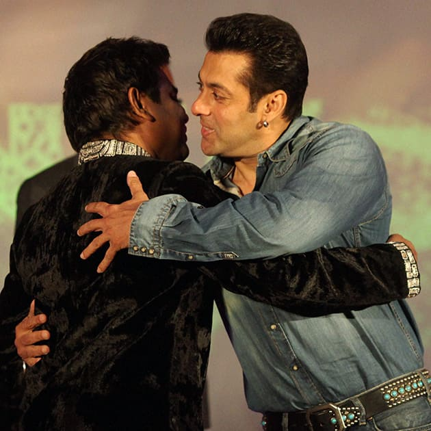 A R Rahman and actor Salman Khan during the launch of the former's music album 'Raunaq' in Mumbai. Union Law and IT Minister Kapil Sibal wrote lyrics for the seven songs in the album.