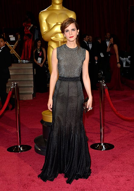 Emma Watson arrives at the Oscars, at the Dolby Theatre in Los Angeles.