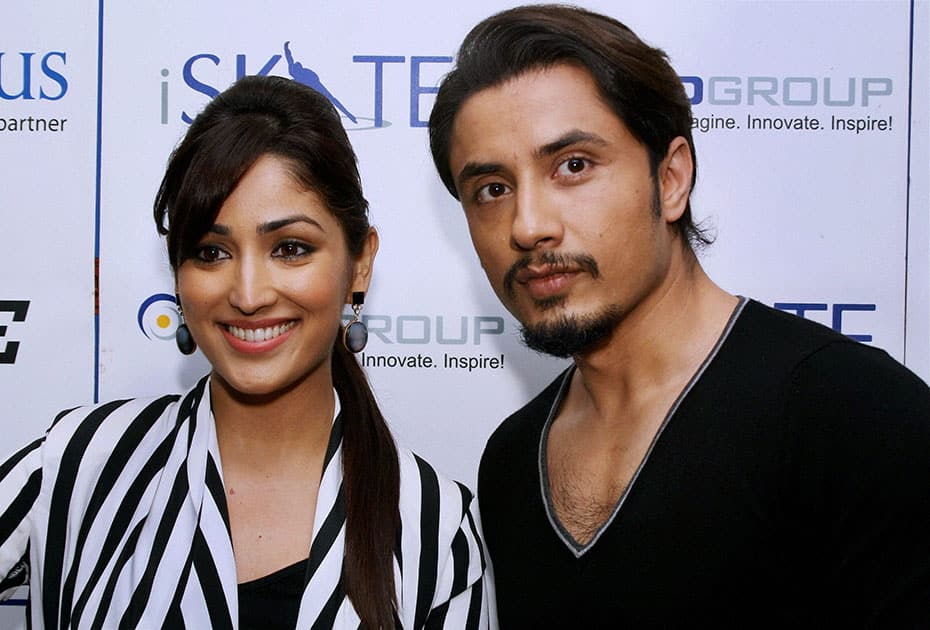 Bollywood actors Ali Zafar & Yami Gautam during the promotional event for their upcoming film.