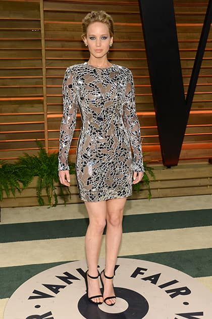 Jennifer Lawrence attends the 2014 Vanity Fair Oscar Party, in West Hollywood, Calif.