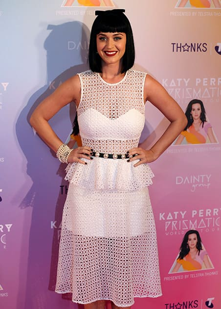 Singer Katy Perry poses for photos during the launch of her Prismatic world tour in Sydney, Australia. Perry will perform live on stage at concerts in Perth, Adelaide, Melbourne, Sydney and Brisbane starting on Nov. 7, 2014.