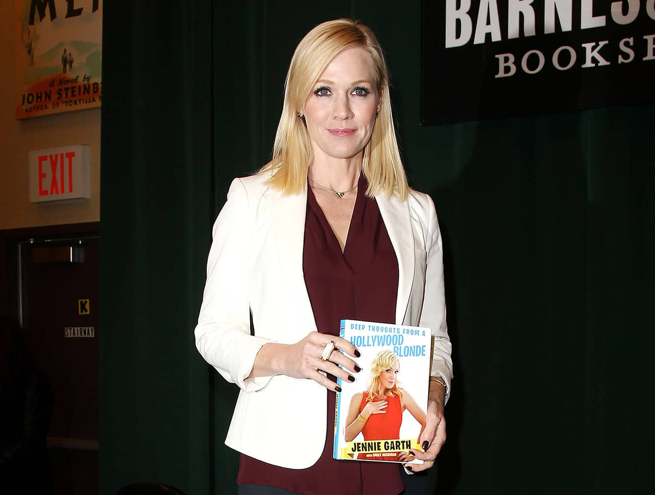 Actress and author Jennie Garth holding a copy of her book, `Deep Thoughts from a Hollywood Blonde,` at Barnes & Noble Tribeca in New York.