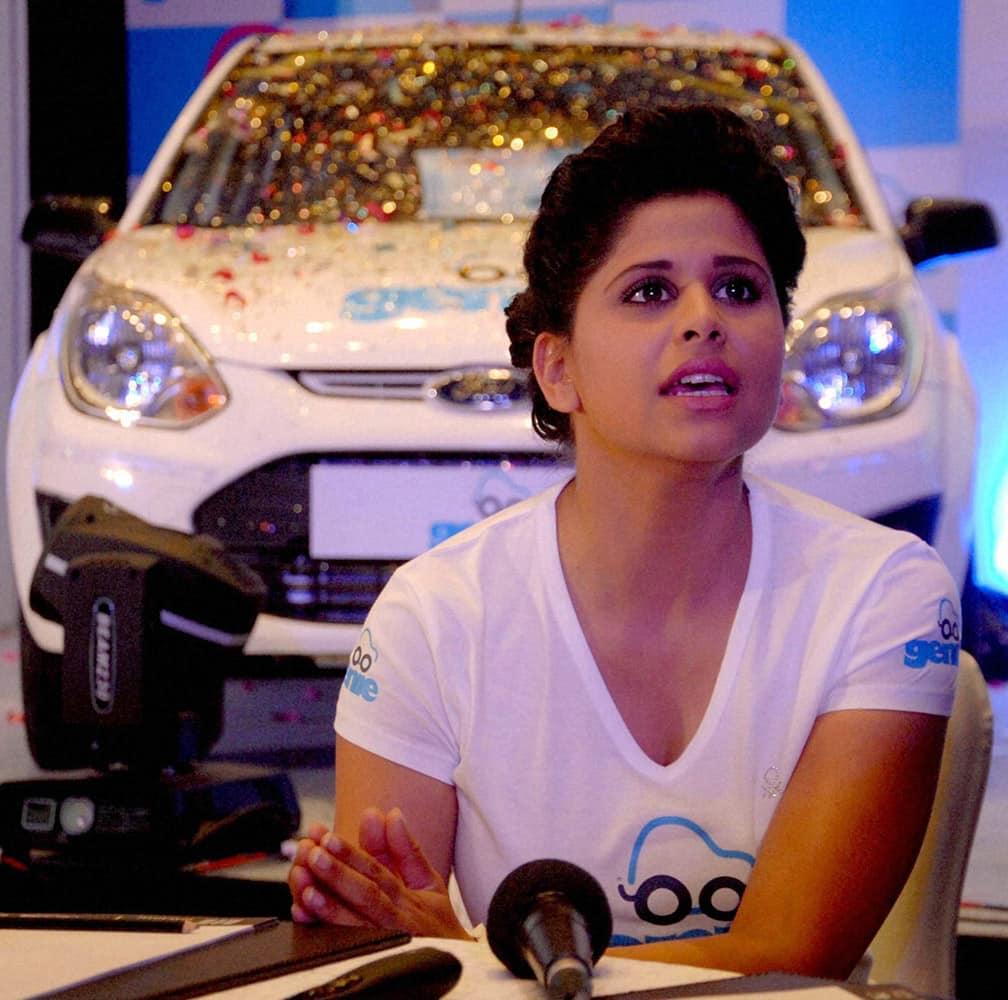 Marathi actress Sai Tamhankar during the launch of MERU Cab.