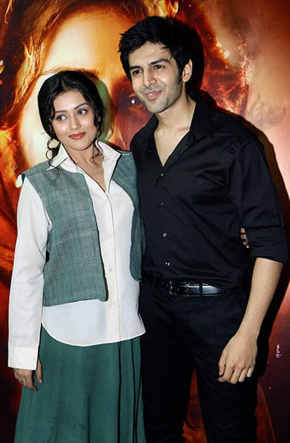 Kartik Aaryan and Mishti during the trailer launch of the film Kaanchi - The Unbreakable in Mumbai.