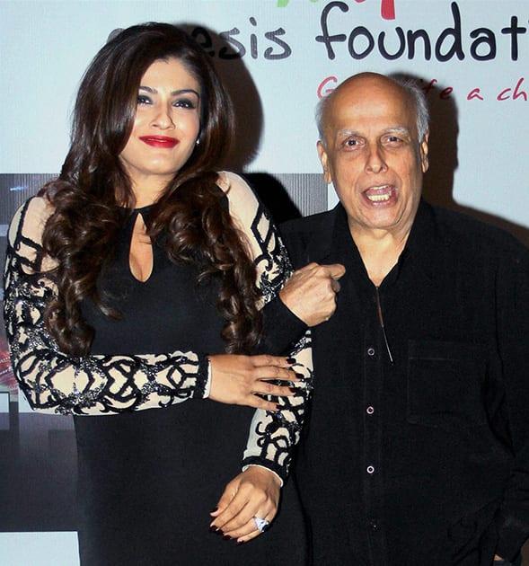Raveena Tandon and filmmaker Mahesh Bhatt at an event in Mumbai.