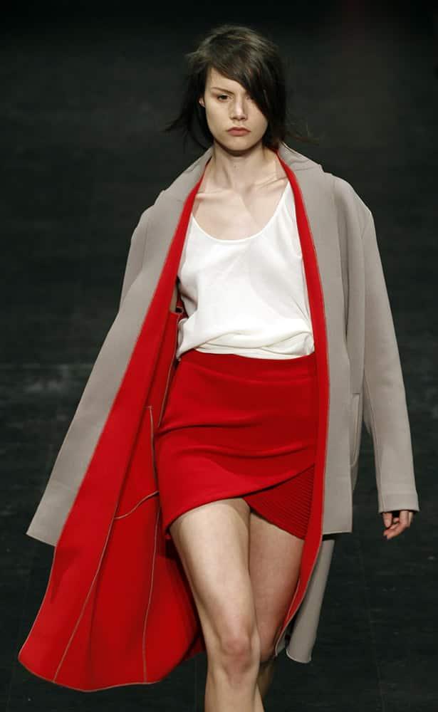 A model wears a creation by Polish designer Lukasz Jemiol during the ModaLisboa fashion week, in Lisbon.