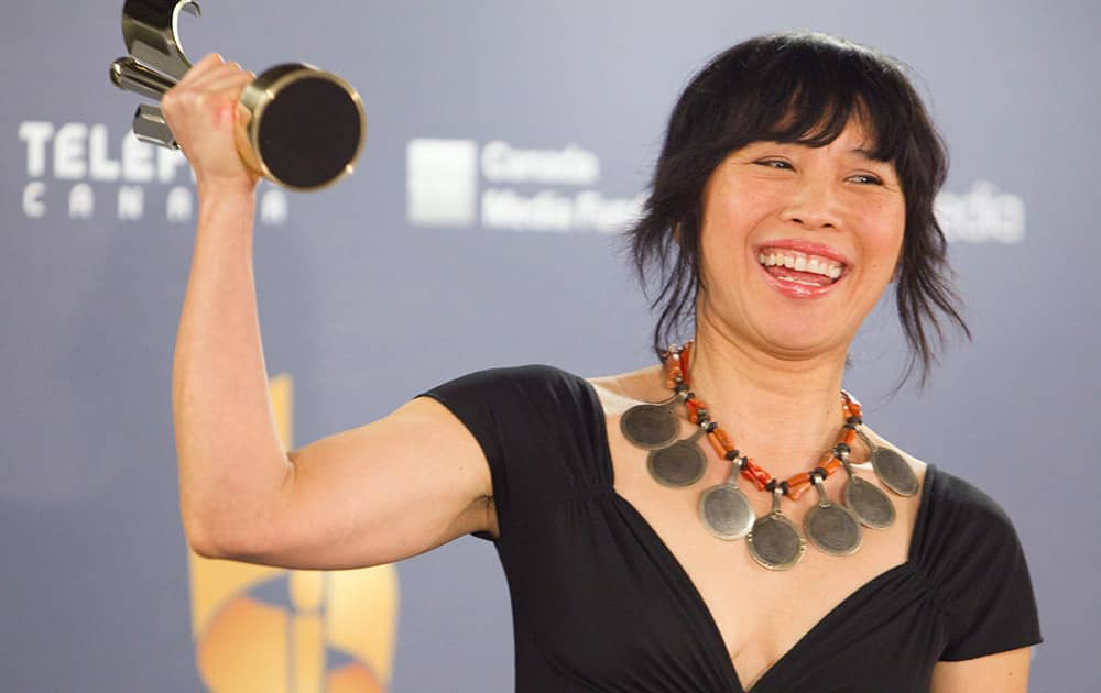 Actor Sook-Yin Leeat with her award for best dramatic performance in `Jack` at the Canadian Screen Awards in Toronto.