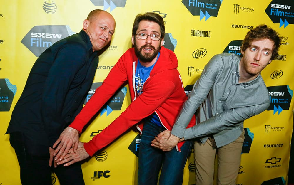 Mike Judge, from left, Martin Starr, and Thomas Middleditch pose on the red carpet for the world premiere of their television series `Silicon Valley` during the SXSW Film Festival  in Austin, Texas.