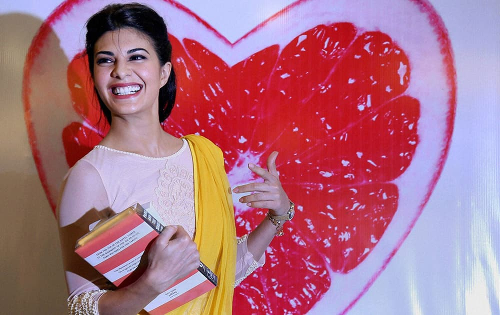 Bollywood actress Jacqueline Fernandez during a book launch in Mumbai.