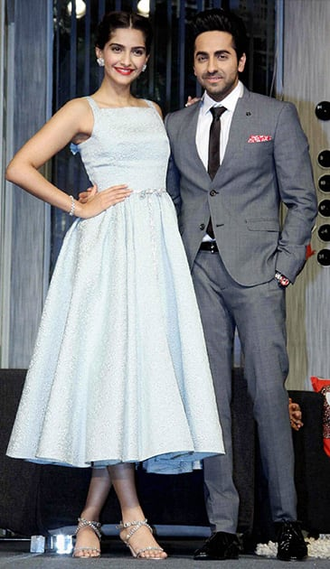 Bollywood actors Sonam Kapoor and Ayushmann Khurrana during the promotion of their upcoming film Bewakoofiyaan, in Mumbai.