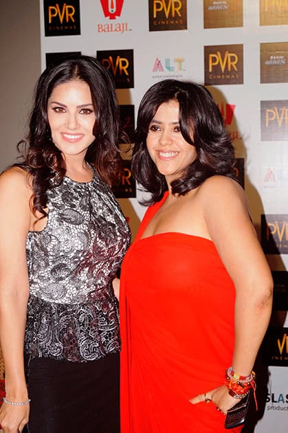 Bollyood actress Sunny Leone and Flim producer Ekta Kapoor during the promotion of their upcoming film Ragini MMS 2 in New Delhi.
