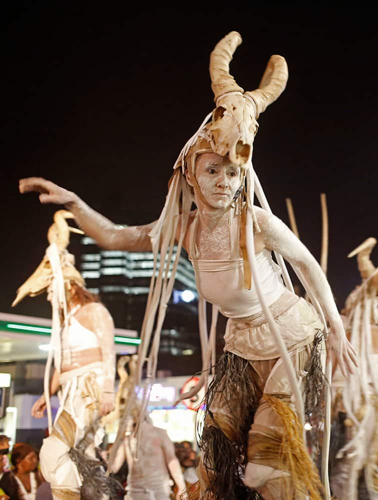 A woman performer is seen during the Cape Town Carnival held in the city of Cape Town, South Africa.