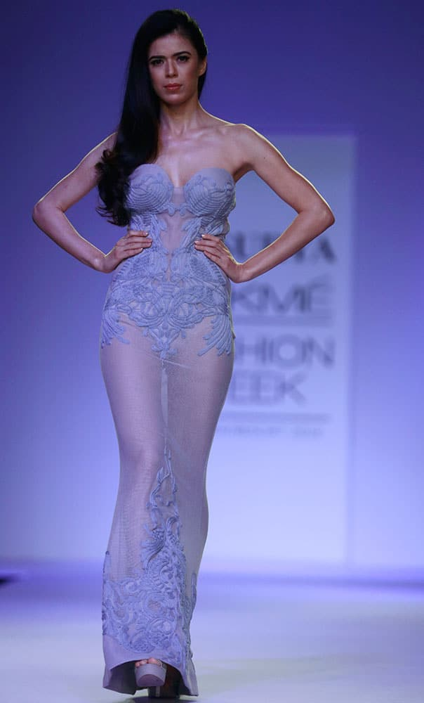 A model displays a creation by designers S.S.Surya during the Lakme Fashion Week in Mumbai.