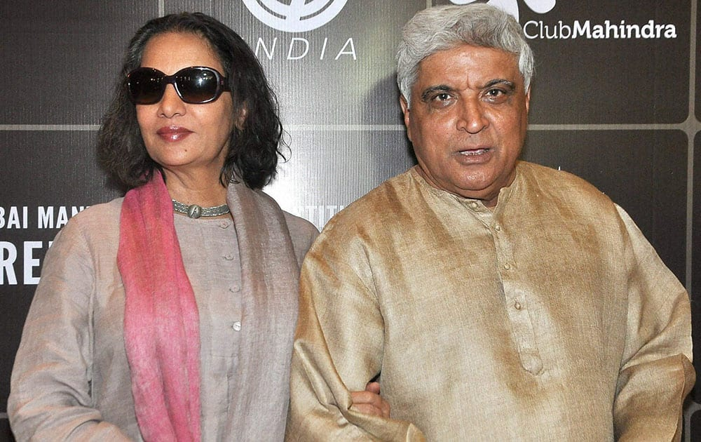Actor Shabana Azmi with his husband and writer Javed Akhtar at the inauguration of the third edition of the Mumbai Mantra Sundance Institute Screenwriters Lab, in Mumbai.