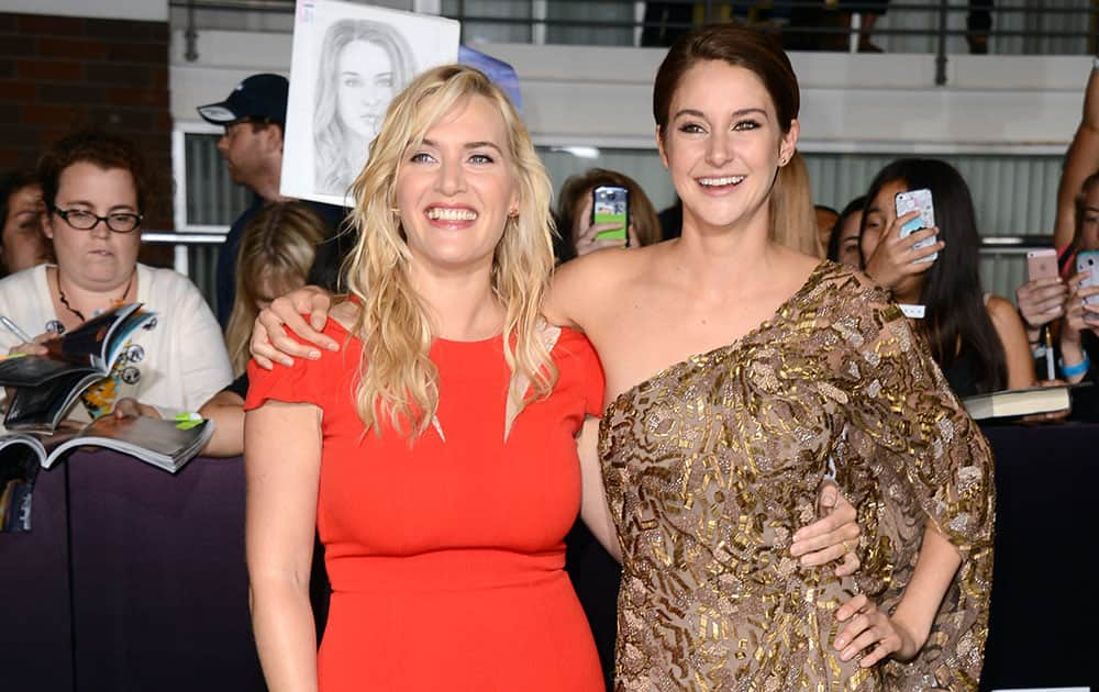 Kate Winslet and Shailene Woodley arrive at the world premiere of `Divergent` at the Westwood Regency Village Theater Los Angeles.