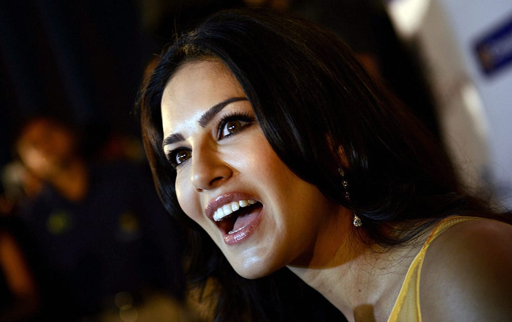 Sunny Leone during the promotion of her film 'Ragini MMS 2' in Ahmedabad.