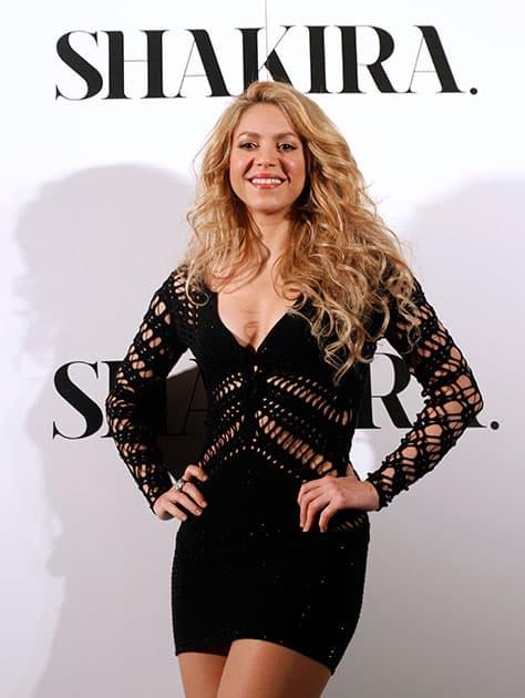 Colombian singer Shakira poses during during the presentation of her new album 'Shakira' in Barcelona, Spain.