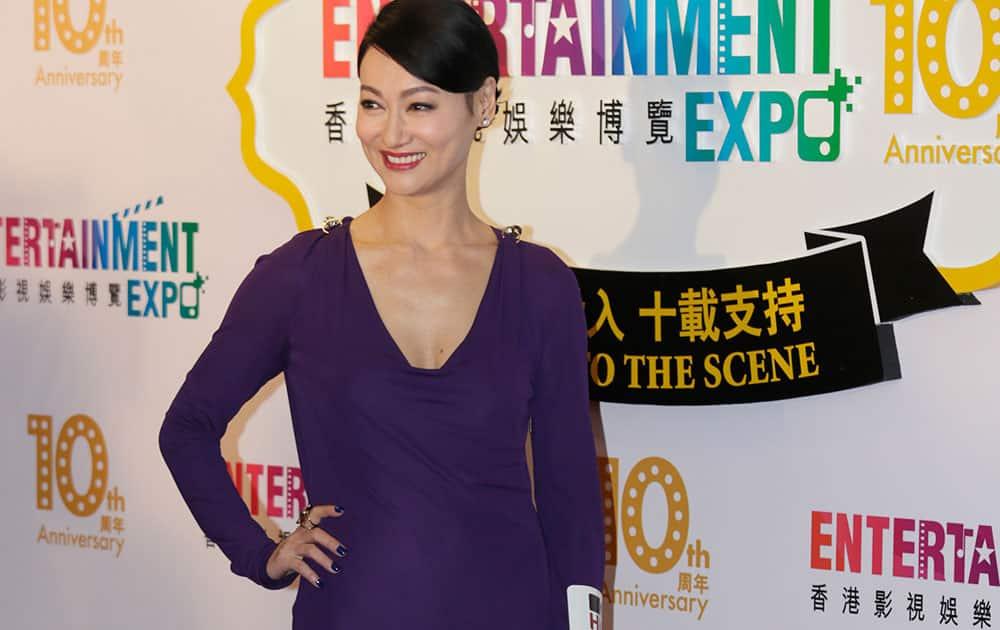 Hong Kong actress Kara Hui poses for the photographers at the red carpet of 38th Hong Kong International Film Festival (HKIFF) Grand Opening.