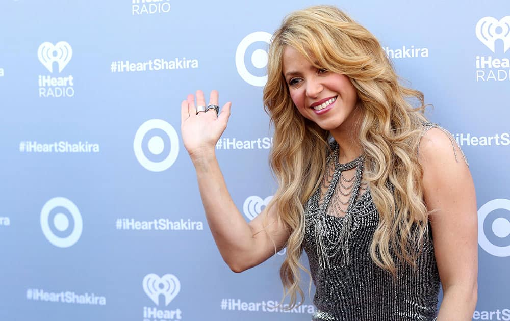 Shakira arrives at the iHeartRadio Album Release Party for her Target Exclusive Deluxe Edition in Burbank, Calif.