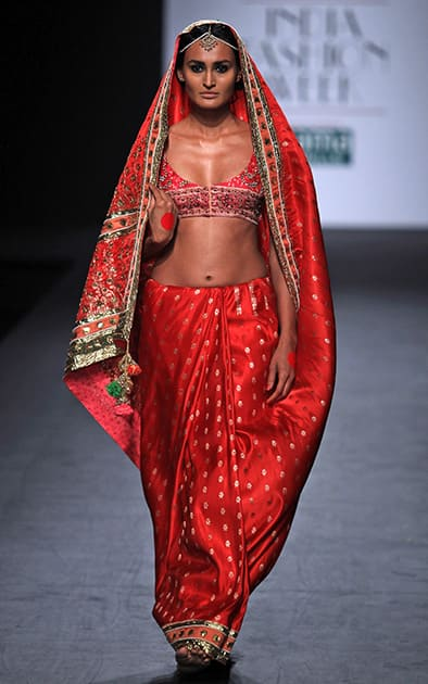 A model displays a creation by Anupamaa Dayal during the Wills lifestyle Fashion Week in New Delhi.