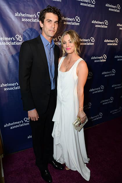 Ryan Sweeting, left, and Kaley Cuoco arrive at the 22nd annual 'A Night At Sardi's' to benefit the Alzheimer's Association at the Beverly Hilton Hotel.