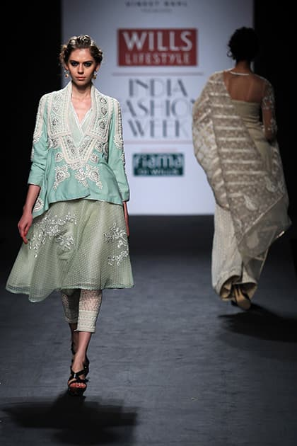 A model displays a creation by Vineet Bahl during the Wills lifestyle Fashion Week in New Delhi.