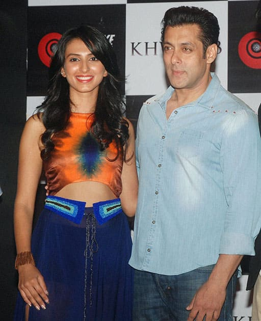 Bollywood actors Salman Khan with Simer Motiani at music launch of a film in Mumbai.