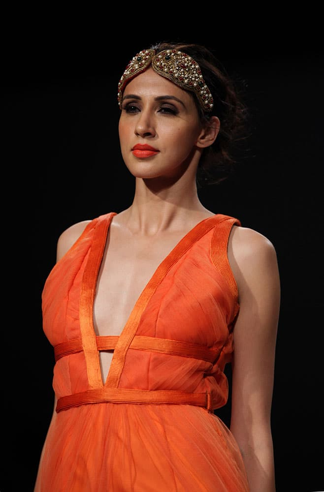 A model displays a creation by Rehane, during the Wills lifestyle Fashion Week in New Delhi.