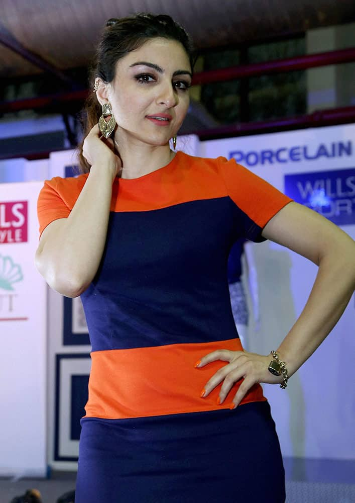 Bollywood actress Soha Ali Khan poses on the side line of the Wills Lifestyle Fashion Week in New Delhi.