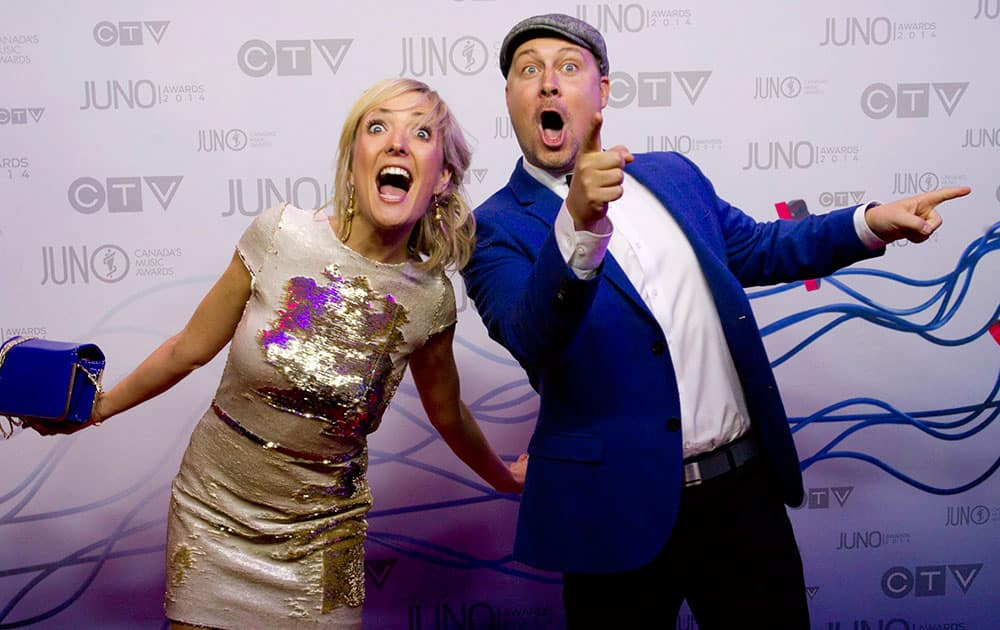 Splash'n Boots arrive on the red carpet during the Juno Awards in Winnipeg, Manitoba.