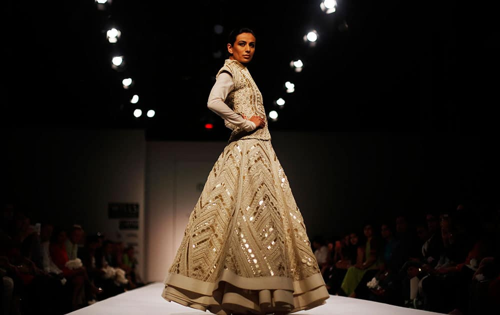 A model displays a creation by Sahil Kochhar, during the Wills Lifestyle India Fashion Week in New Delhi.