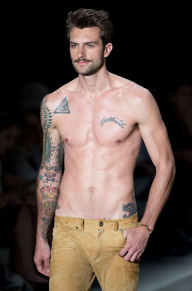 A model wears a creation from the Cavalera Summer collection at Sao Paulo Fashion Week.
