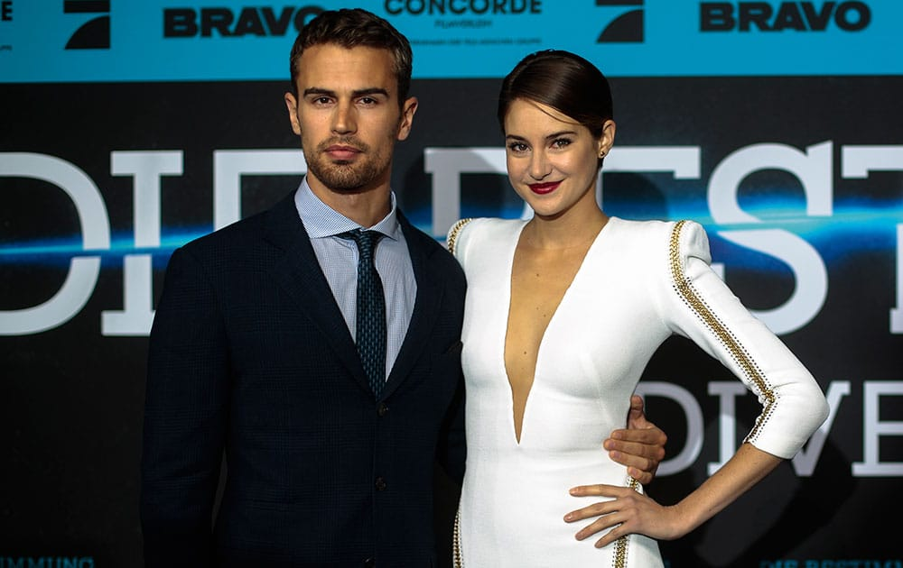 British actor Theo James and US actress Shailene Woodley arrive for the German film premiere of `Divergent` in Berlin.